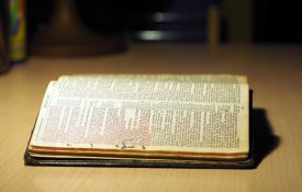 This is a photo of a Bible open to the Ten Commandments.