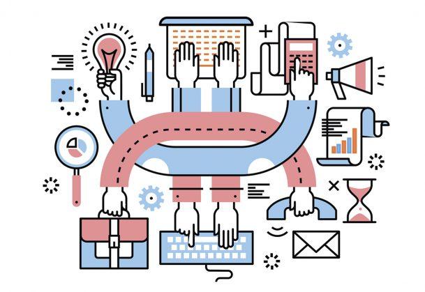 Illustration showing hands completing many tasks at once
