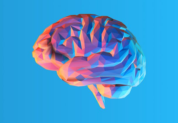 Low poly brain illustration isolated on blue background