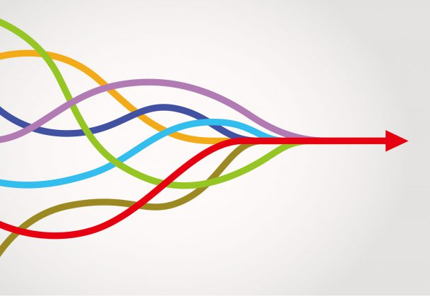 different colored lines converging into one red arrow travelling horizontally