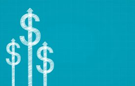 Dollar sign and arrow in chalk Scribble design on blue color background
