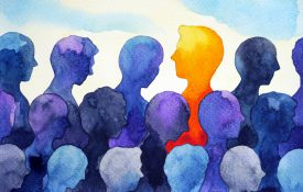 depression concept of watercolor image of blue silhouettes and one orange person that stands out