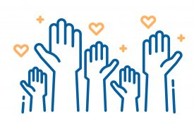 outlines of hands raised with heart and plus sign symbols for healthcare