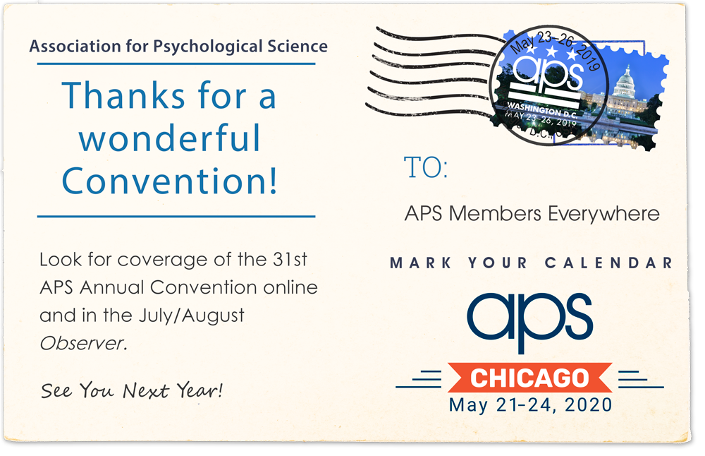 Postcard image thanking members for attending the 2019 APS Annual Convention