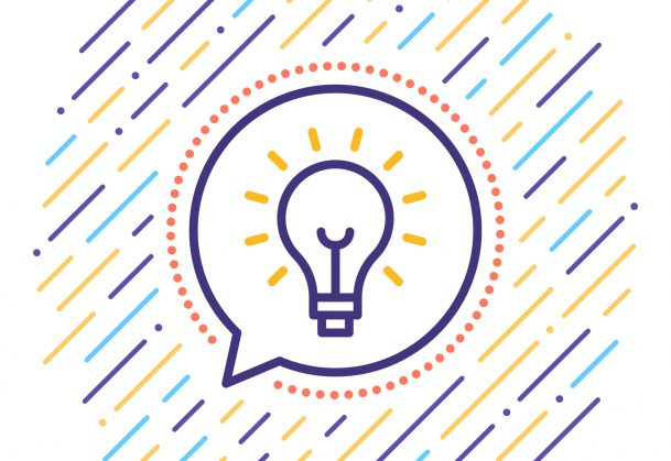 This graphic is of a lightbulb inside a speech bubble