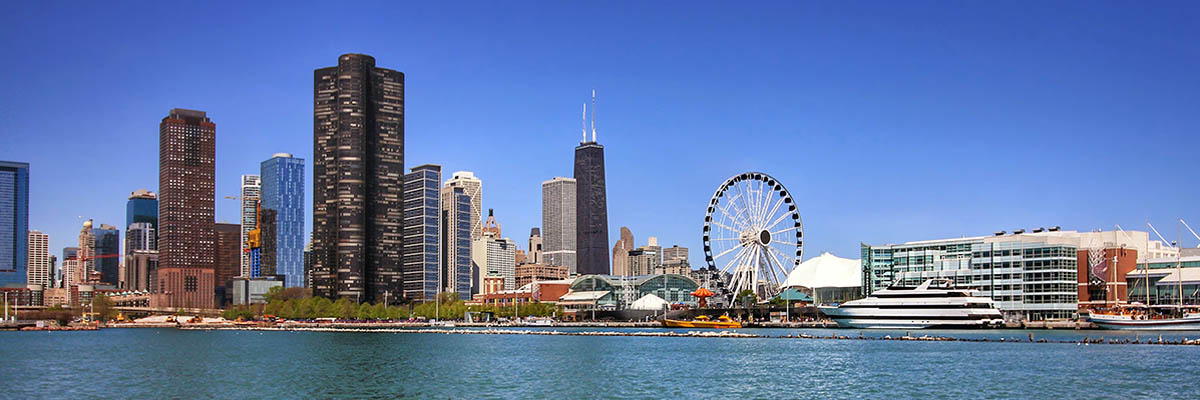 Sunny Chicago Skyline showing where the 2020 APS Annual Convention will be.