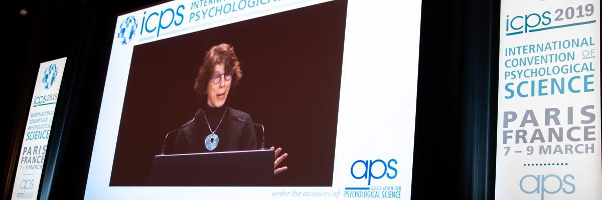 APS Past President Barbara Tversky introducing speaker BJ Casey