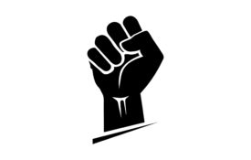Black hand icon raised in a clenched fist. Freedom sign and protest symbol.